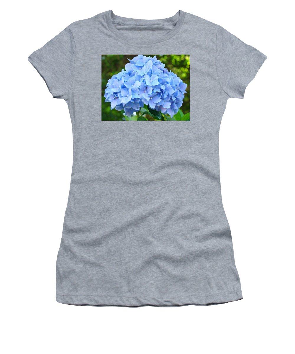 Blue Women's T-Shirt (Athletic Fit) featuring the photograph Blue Hydrangea Floral Art Print Hydrangeas Flowers Baslee Troutman by Baslee Troutman