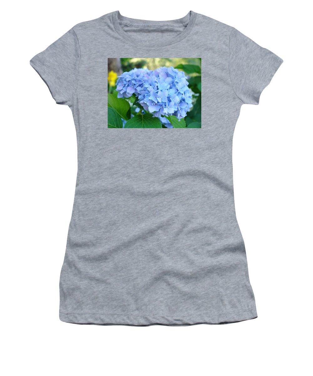 Hydrangea Women's T-Shirt featuring the photograph Blue Hydrangea Flowers Art Botanical Nature Garden Prints by Baslee Troutman