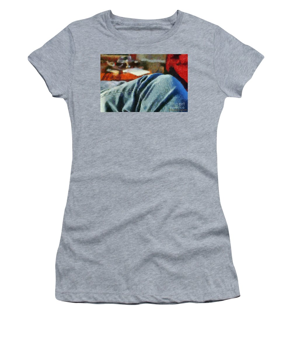 Painting Women's T-Shirt (Athletic Fit) featuring the painting Blue Jean Morning by Paulette B Wright