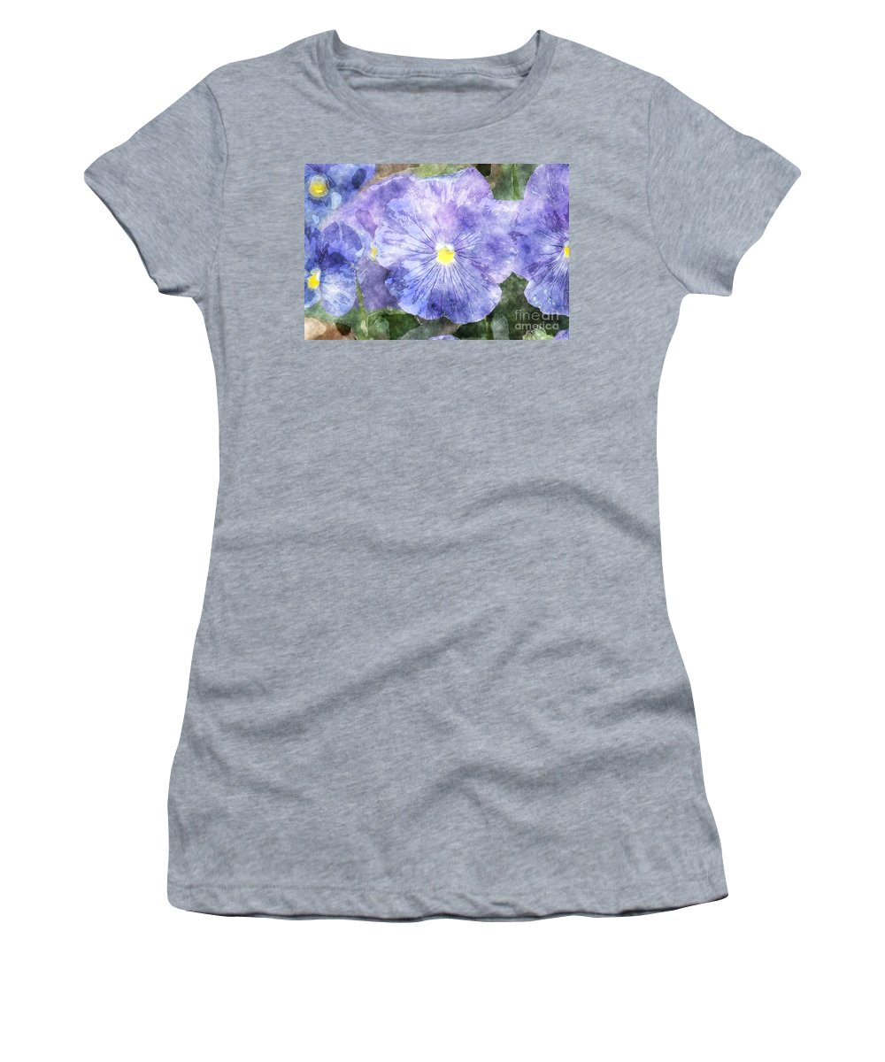 Flowers Women's T-Shirt featuring the photograph Blue Pansies by Donna Bentley