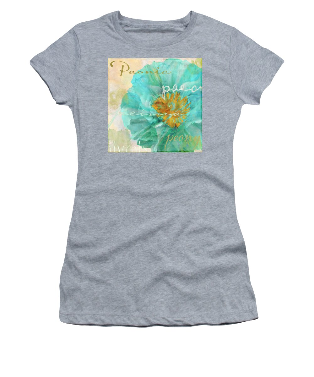 Peony Women's T-Shirt featuring the painting Blue Peony by Mindy Sommers