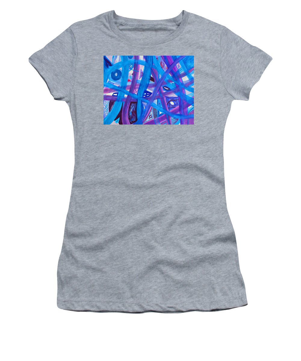 Abstract Women's T-Shirt (Athletic Fit) featuring the painting Blue Purple Paths by Lee Serenethos