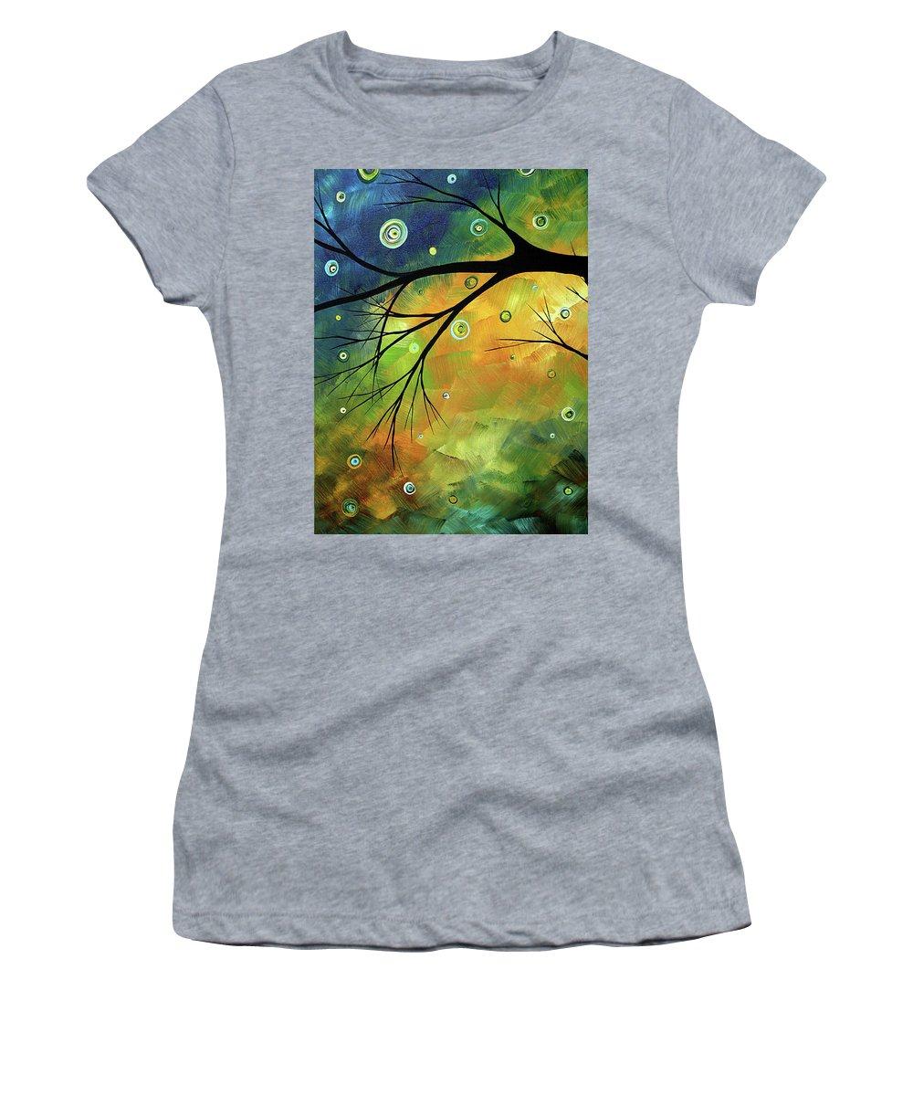 Art Women's T-Shirt featuring the painting Blue Sapphire 2 By Madart by Megan Duncanson