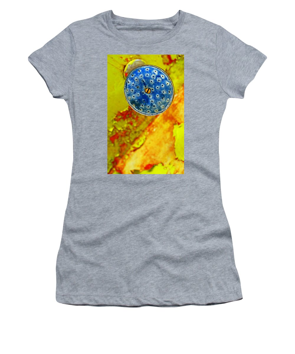 Shadow Women's T-Shirt (Athletic Fit) featuring the photograph Blue Shower Head by Skip Hunt