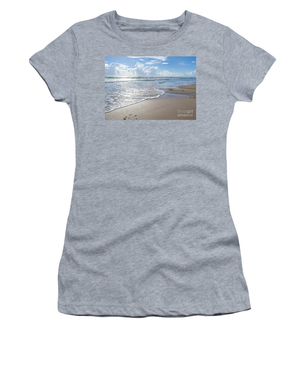 Beach Women's T-Shirt (Athletic Fit) featuring the photograph Blue Skies South Padre Island Texas by Gabriel G Medina