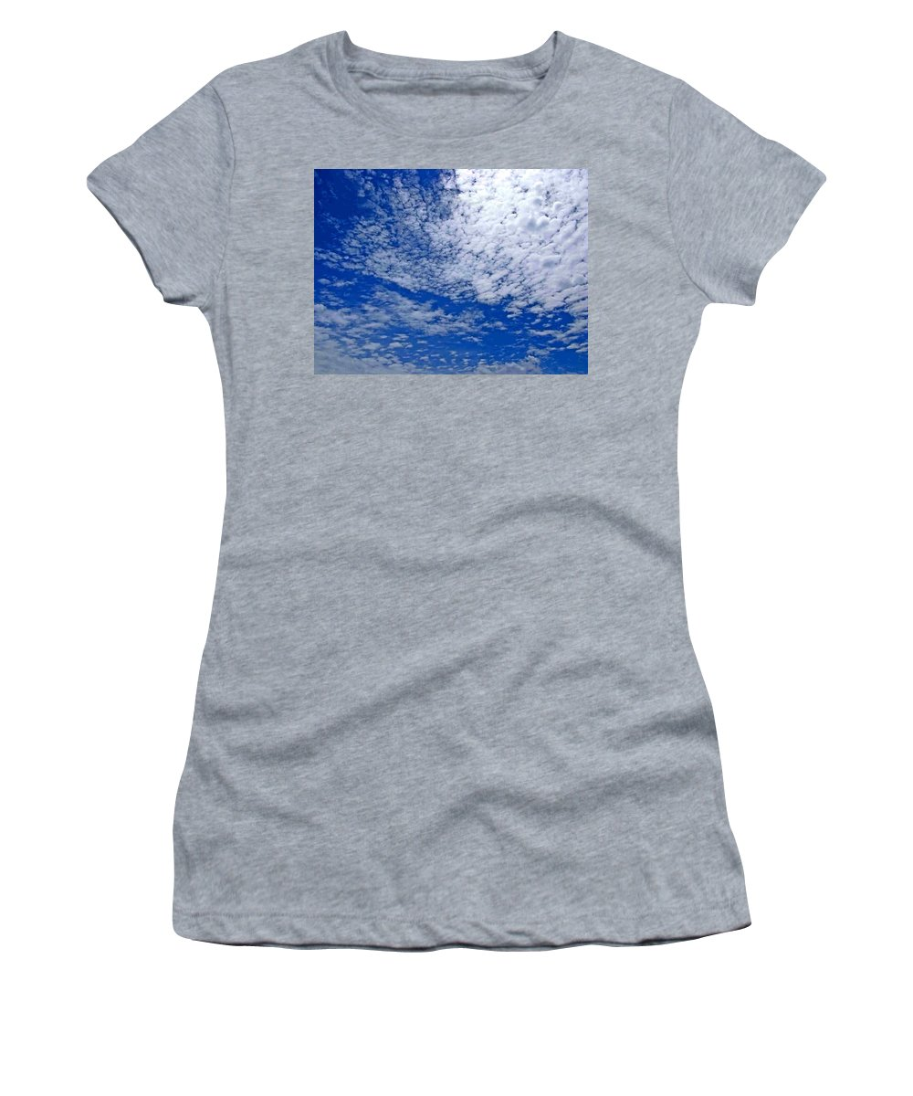 Sky Women's T-Shirt (Athletic Fit) featuring the photograph Blue Sky With Clouds by Dragica Micki Fortuna