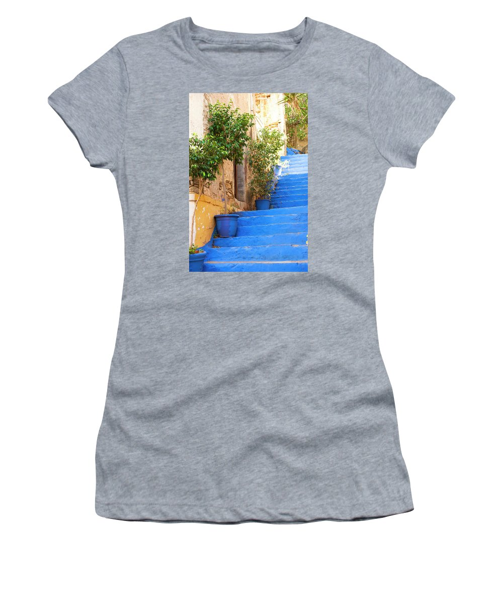Stairs Women's T-Shirt featuring the photograph Blue Stairs by Anna Kluba