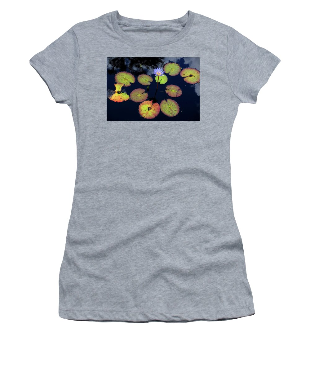 Blue Women's T-Shirt (Athletic Fit) featuring the photograph Blue Water Lily by Lucio Cicuto