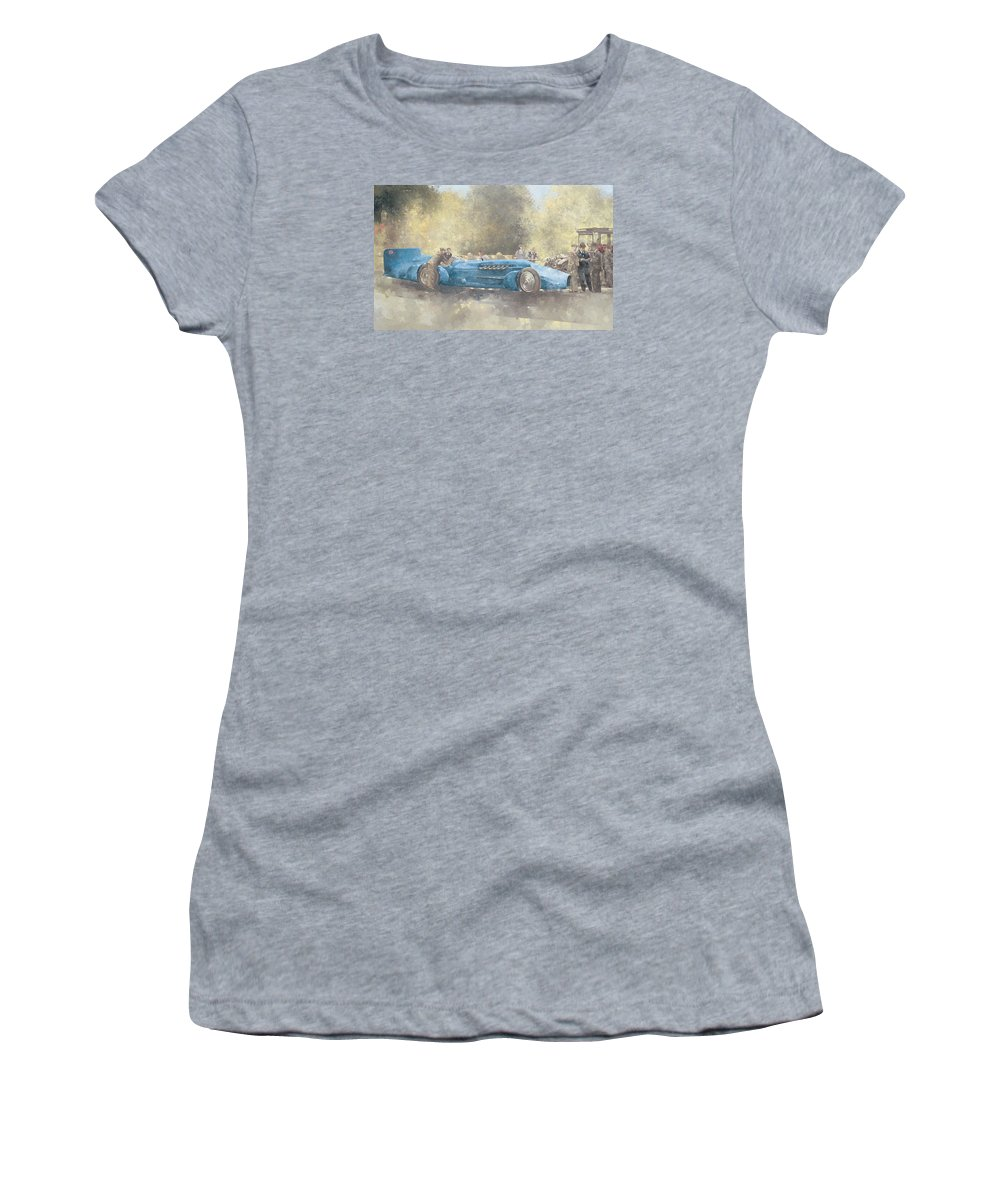 Land Speed Record Women's T-Shirt (Athletic Fit) featuring the painting Bluebird And Ghost by Peter Miller