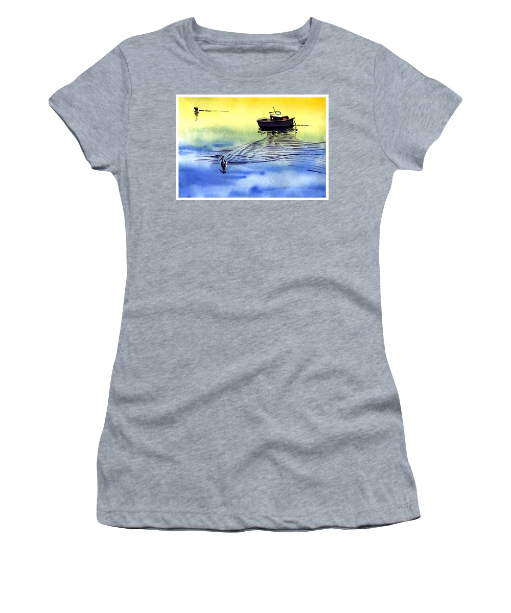 Watercolor Women's T-Shirt featuring the painting Boat And The Seagull by Anil Nene