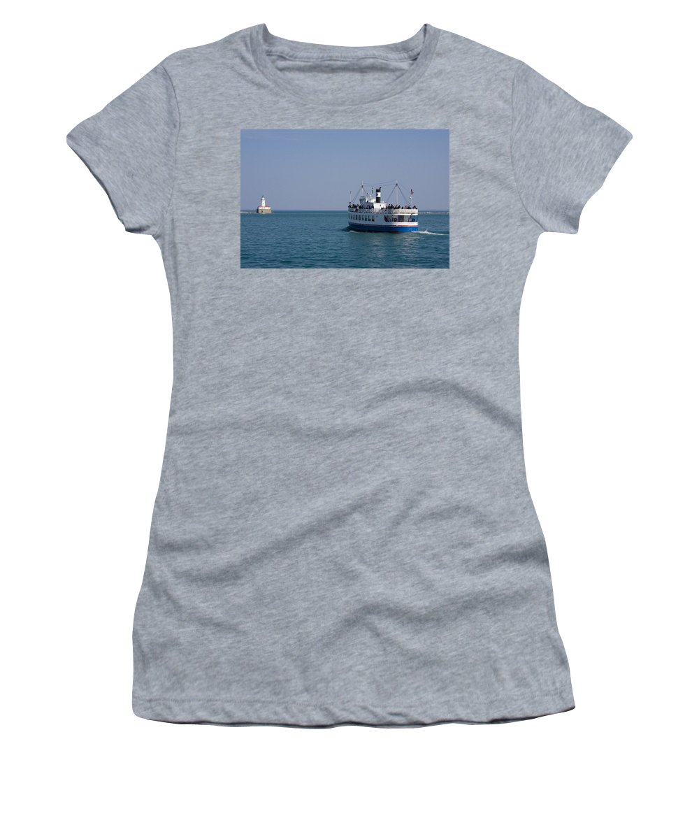 Boat Ride Chicago Windy City Tourist Tourism Travel Water Lake Michigan Attraction Blue Sky Women's T-Shirt (Athletic Fit) featuring the photograph Boat Ride by Andrei Shliakhau