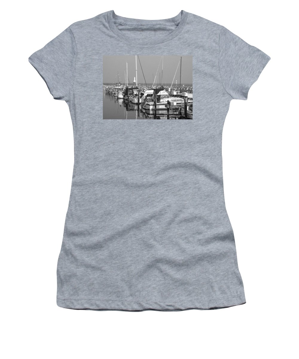 Sailboats Women's T-Shirt (Athletic Fit) featuring the photograph Boats And Reflections B-w by Anita Burgermeister