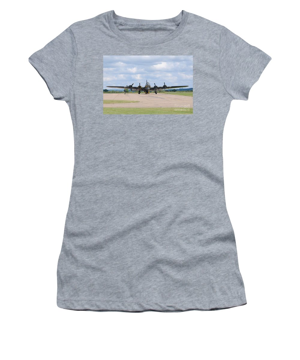Plane Women's T-Shirt featuring the digital art Boeing B-17 Flying Fortress Sally B by Nigel Bangert