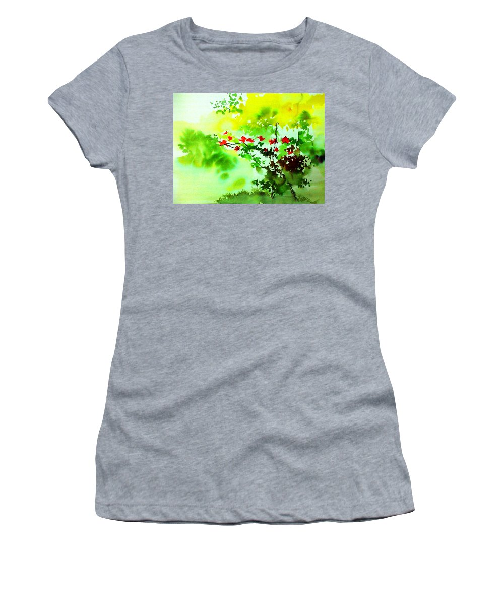 Floral Women's T-Shirt (Athletic Fit) featuring the painting Boganwel by Anil Nene