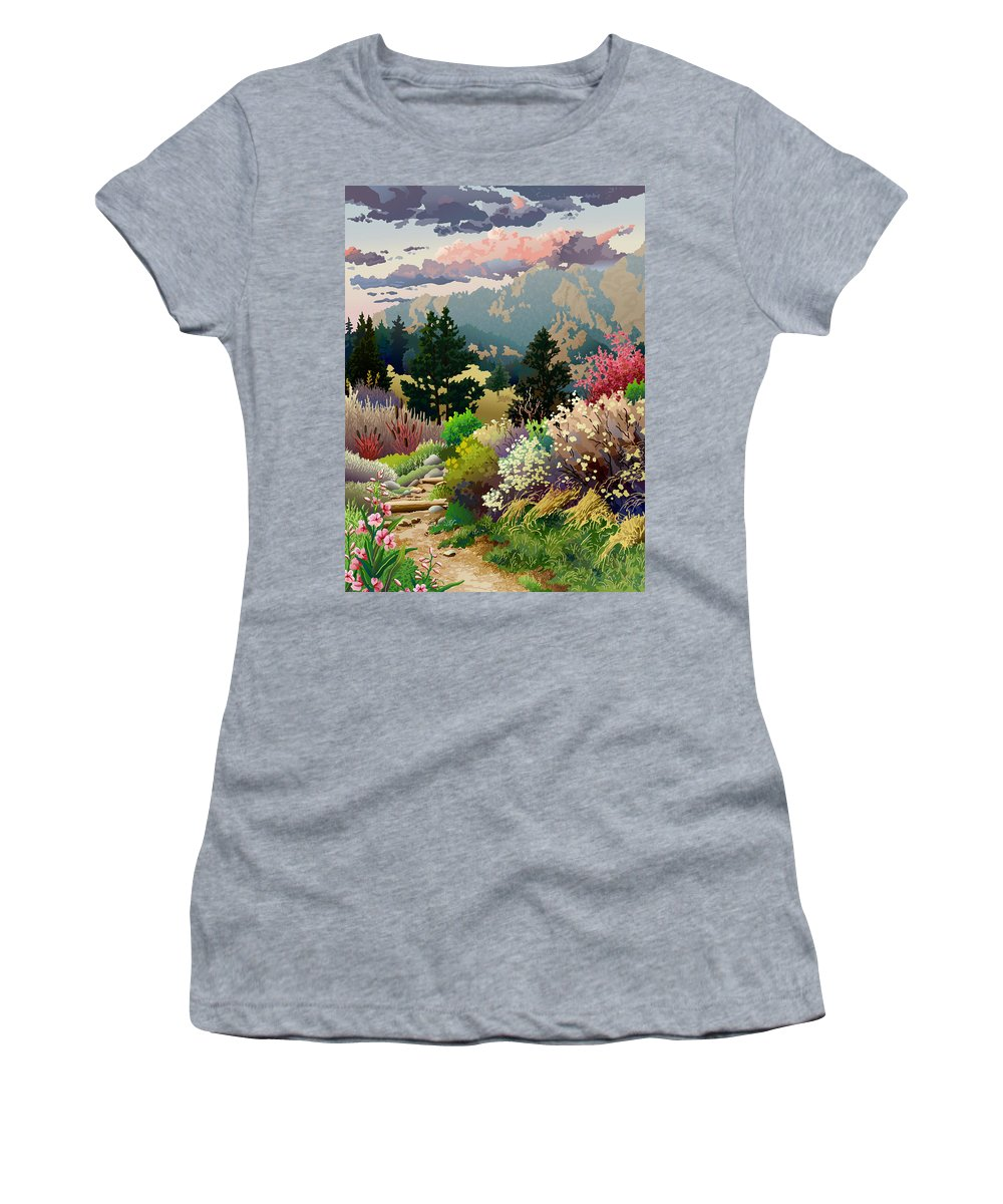 Serigraph Women's T-Shirt featuring the digital art Bolder Boulder 10K Poster 2007 by Anne Gifford