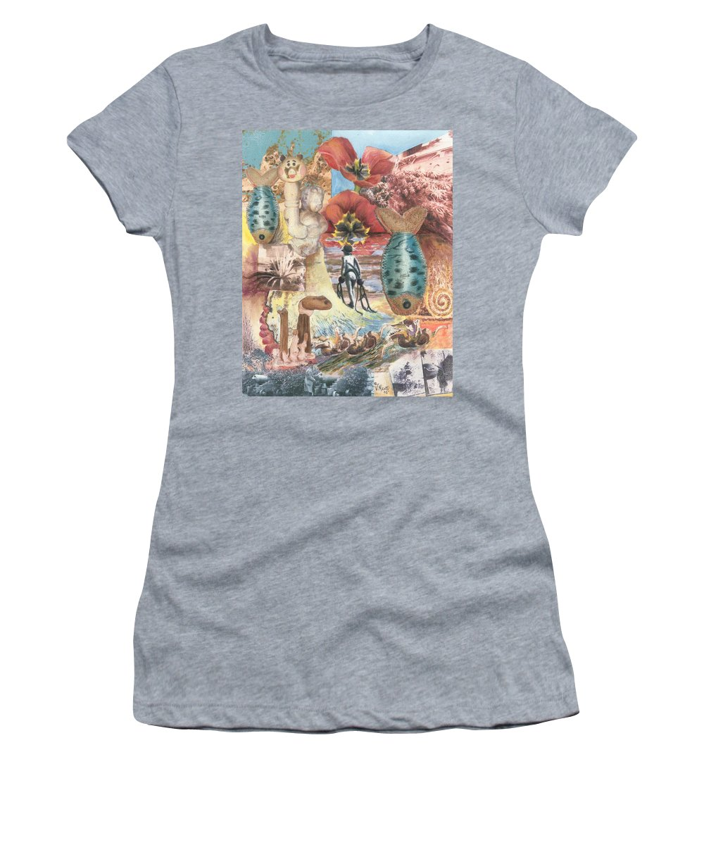 Abstract Women's T-Shirt (Athletic Fit) featuring the digital art Bombs Away by Valerie Meotti