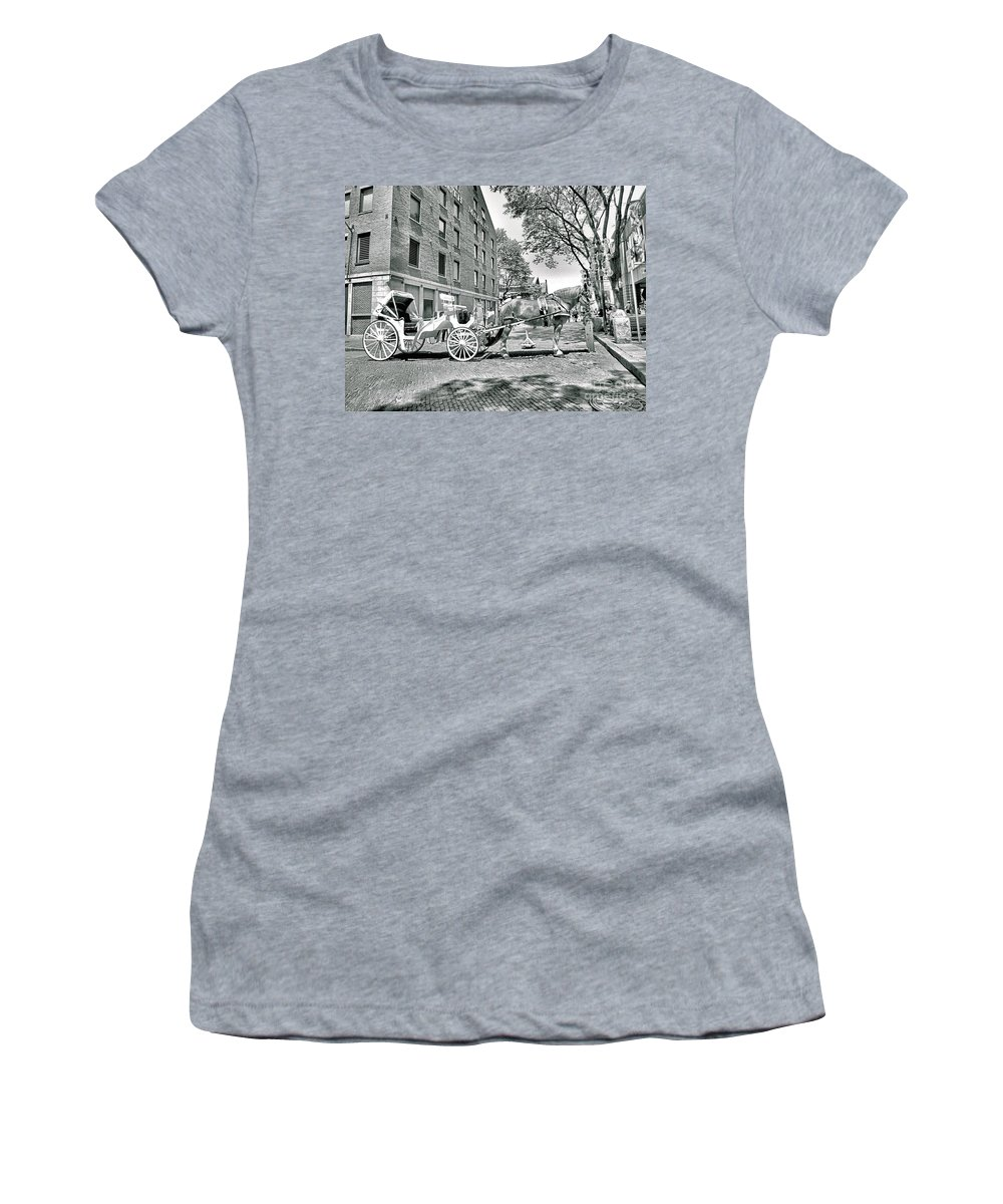 Faneuil Hall Women's T-Shirt featuring the photograph Boston Buggy by Elizabeth Dow