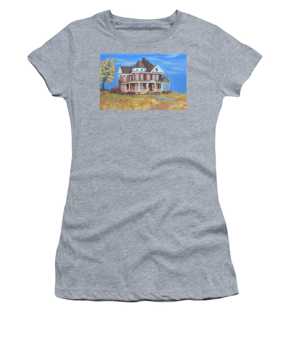 Boulder Women's T-Shirt (Athletic Fit) featuring the painting Boulder Victorian by Jerry McElroy