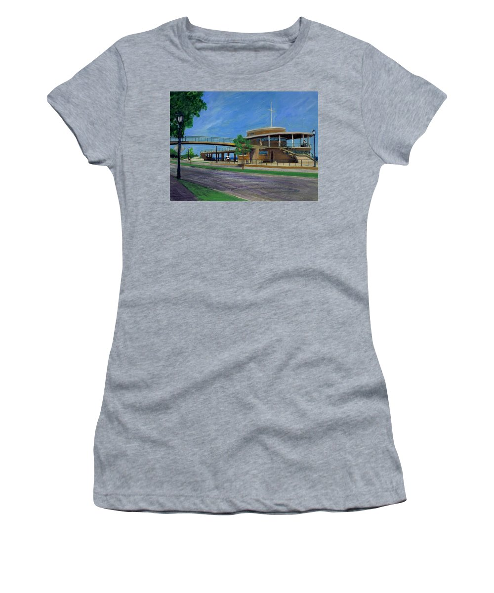 Miexed Media Women's T-Shirt featuring the mixed media Bradford Beach House by Anita Burgermeister