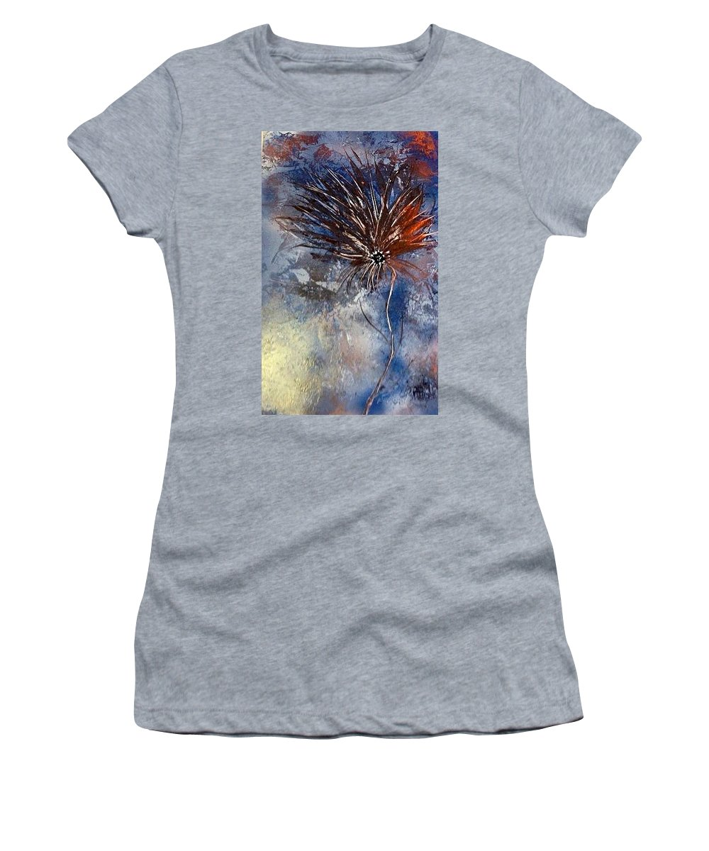 Abstract Women's T-Shirt (Athletic Fit) featuring the painting Brads Flower by Richard Fey
