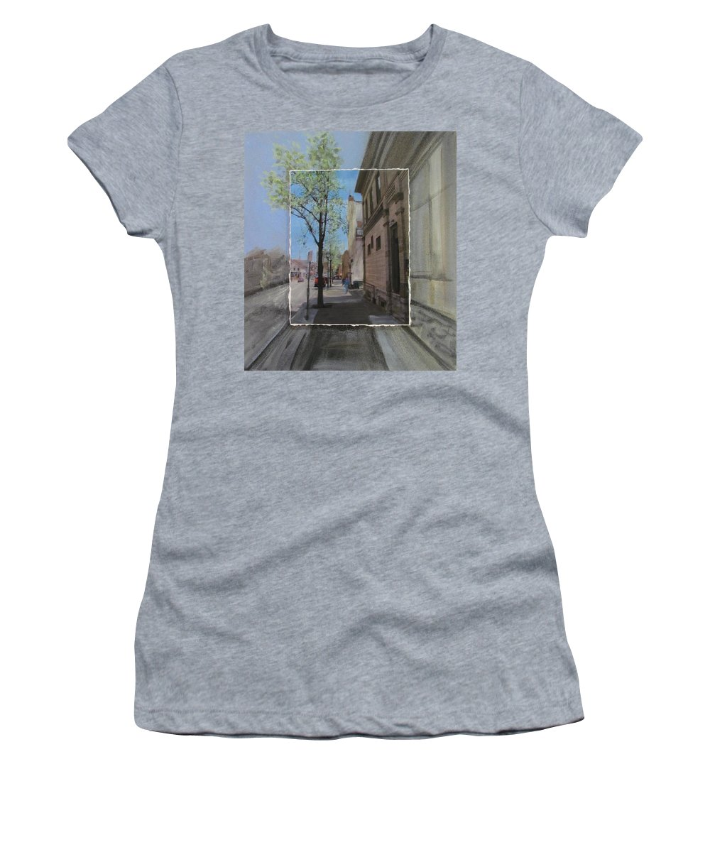Brady Street Women's T-Shirt (Athletic Fit) featuring the mixed media Brady Street With Tree Layered by Anita Burgermeister