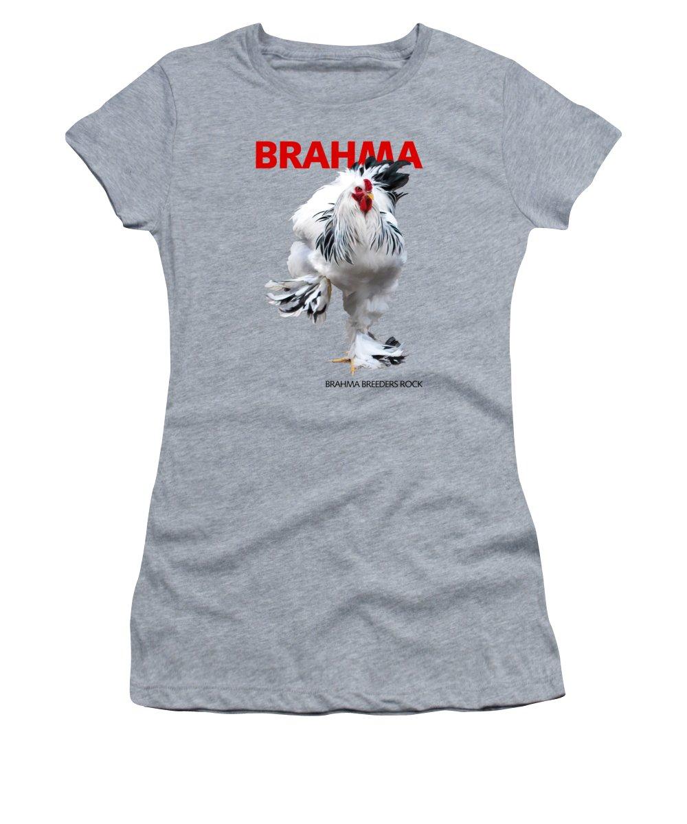 Brahma Women's T-Shirt featuring the digital art Brahma Breeders Rock Red by Sigrid Van Dort