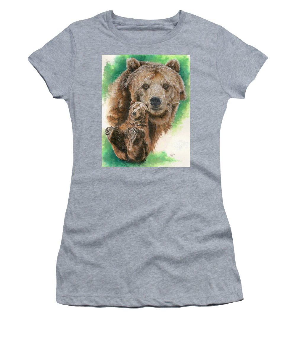 Bear Women's T-Shirt (Athletic Fit) featuring the mixed media Brawny by Barbara Keith