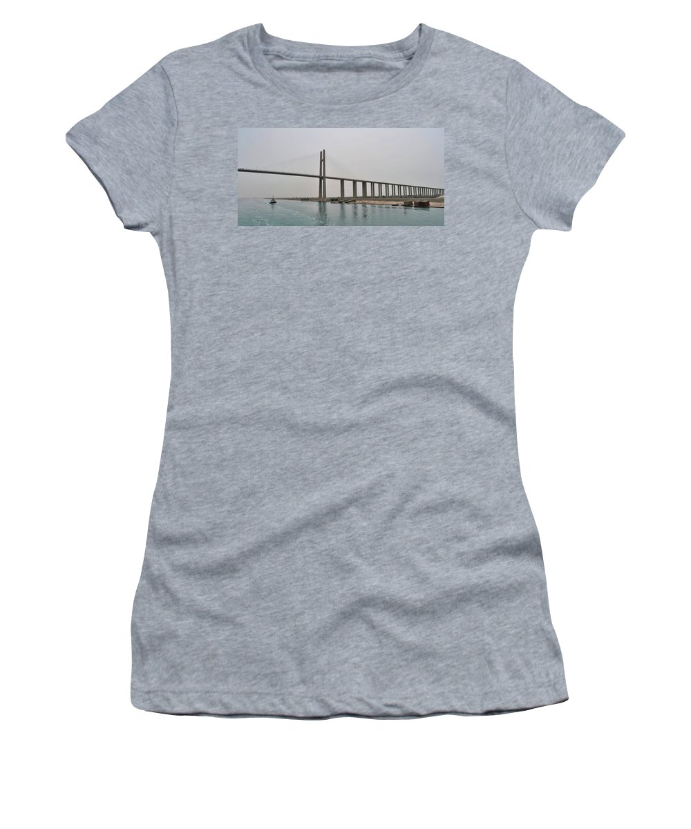 Landscape Women's T-Shirt (Athletic Fit) featuring the photograph Bridge At Suez by Mark Victors