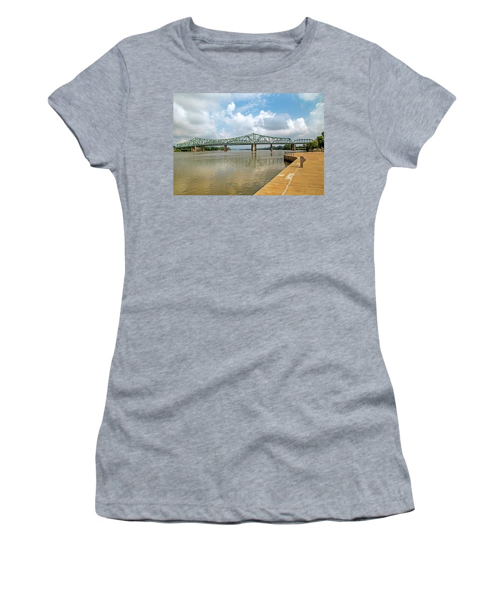 The Point Women's T-Shirt (Athletic Fit) featuring the photograph bridge to Belpre, Ohio by John Radosevich