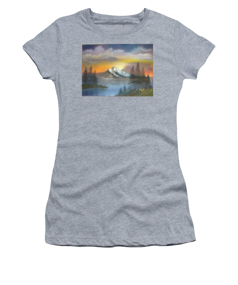 Mountain Women's T-Shirt (Athletic Fit) featuring the painting Bright Sky by Lana Fultz