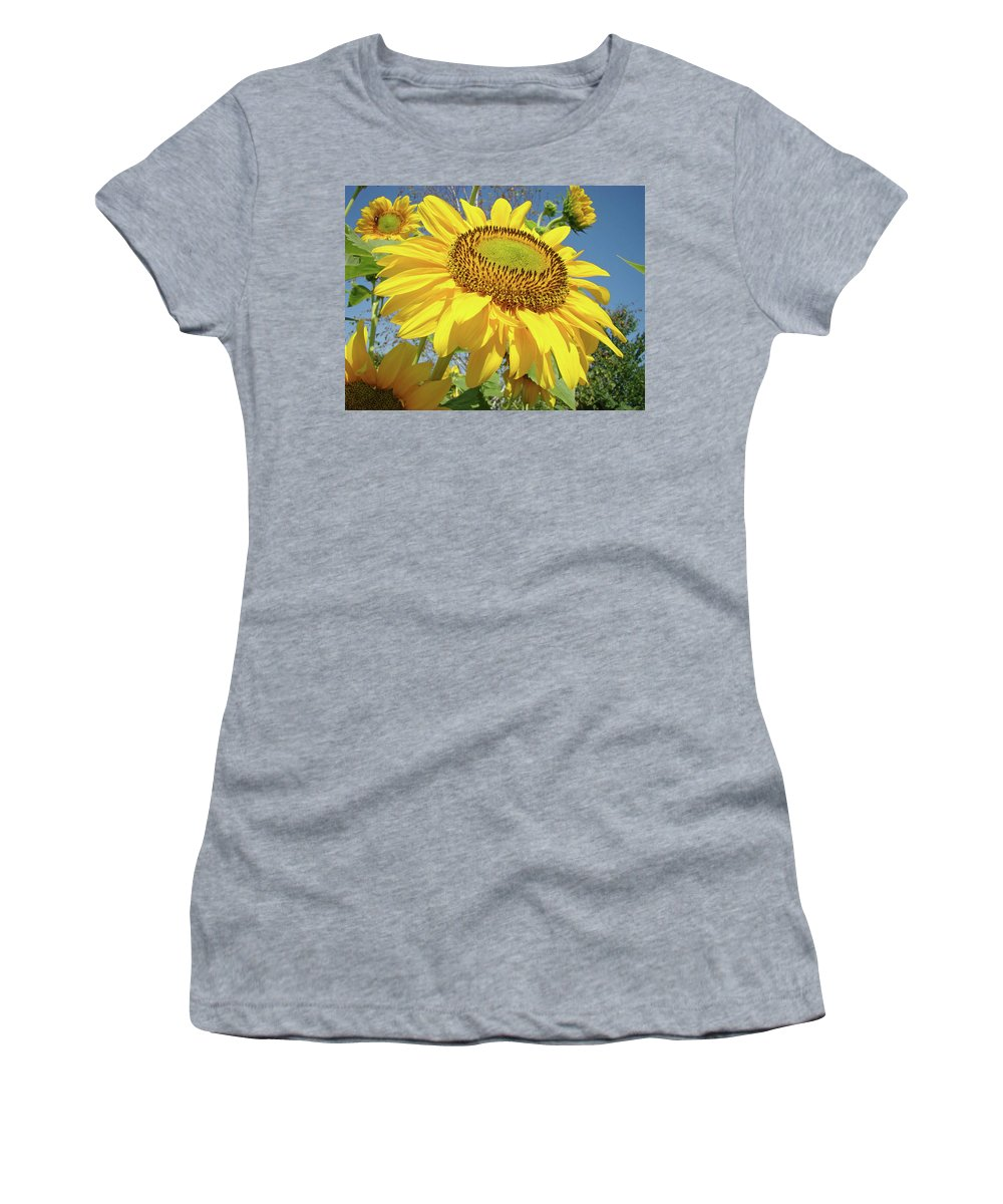 Sunflower Women's T-Shirt (Athletic Fit) featuring the photograph Bright Sunny Happy Yellow Sunflower 10 Sun Flowers Art Prints Baslee Troutman by Baslee Troutman