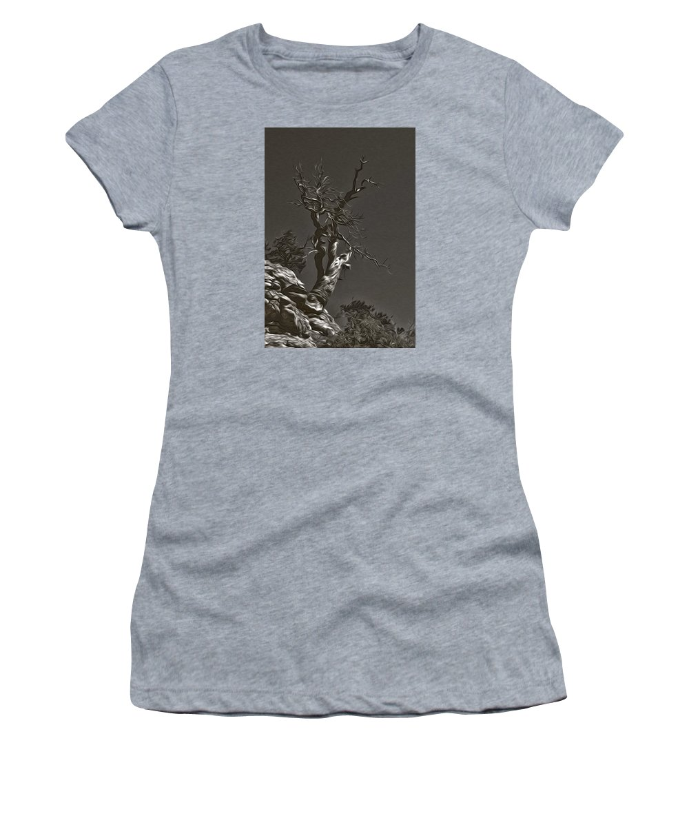 Bristlecone Women's T-Shirt (Athletic Fit) featuring the photograph Bristlecone Pine In Black And White by David Kehrli