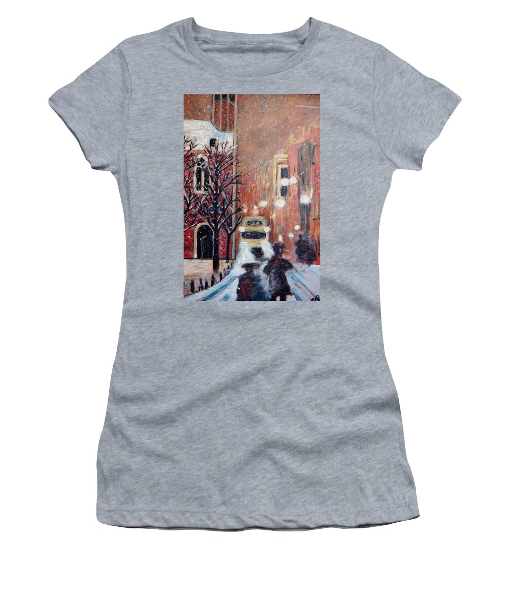 Belgium Women's T-Shirt (Athletic Fit) featuring the painting Brussels At Night by Carolyn Donnell