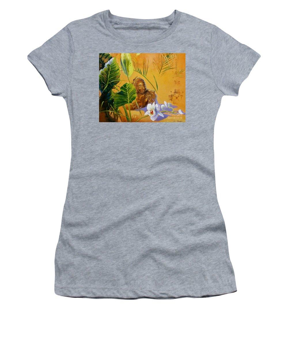 Lin Petershagen Women's T-Shirt featuring the painting Buddha Sculp by Lin Petershagen