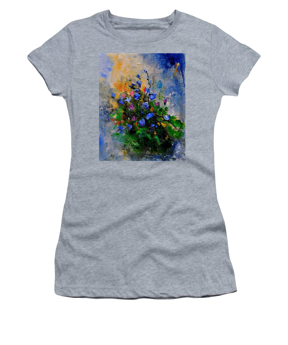 Flowers Women's T-Shirt (Athletic Fit) featuring the painting Bunch 451130 by Pol Ledent
