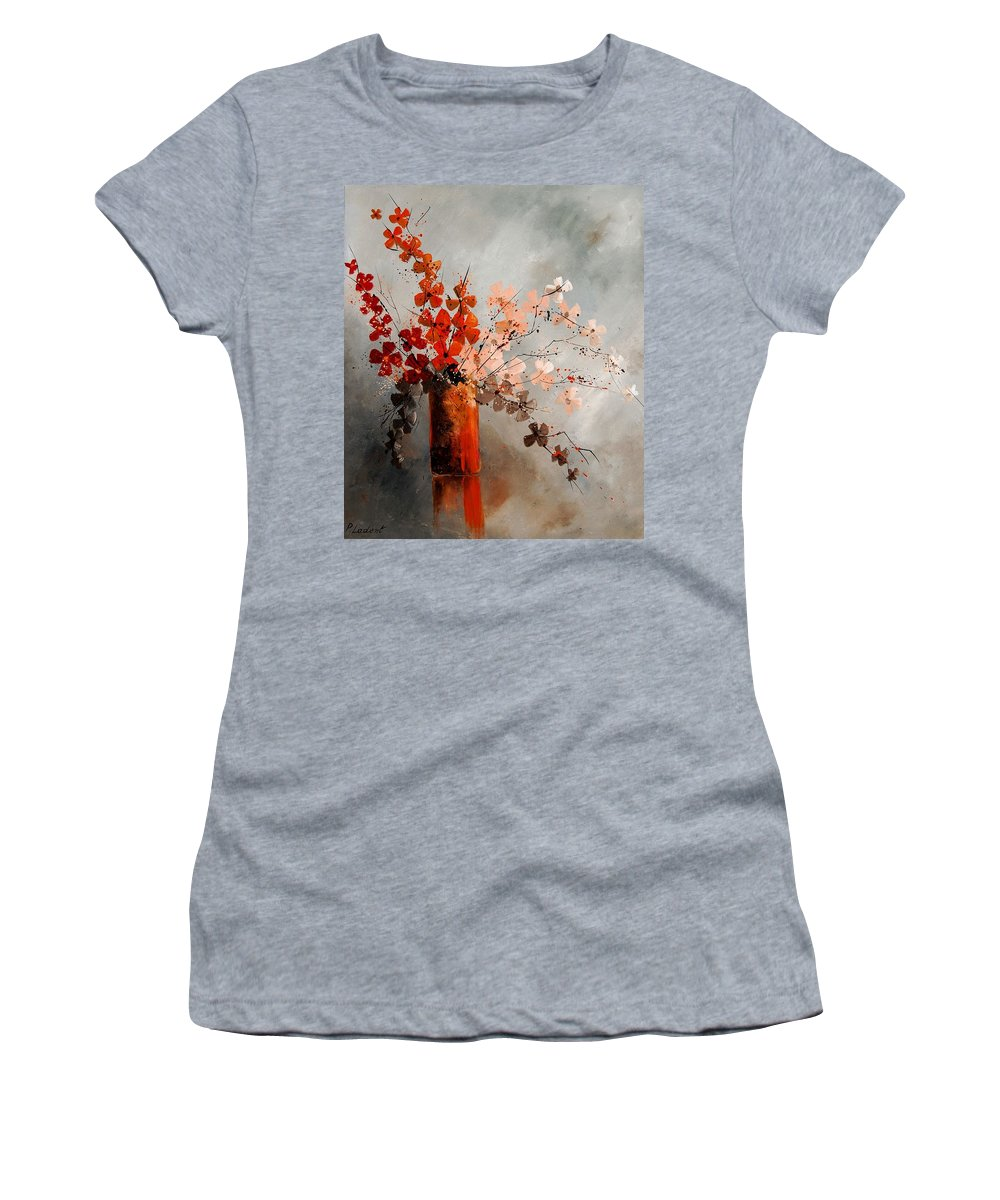 Flowers Women's T-Shirt (Athletic Fit) featuring the painting Bunch 670908 by Pol Ledent