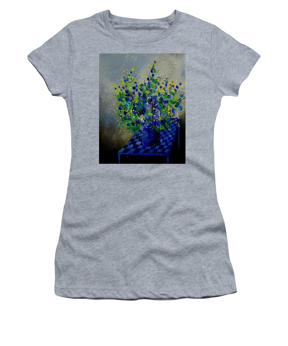 Flowers Women's T-Shirt (Athletic Fit) featuring the painting Bunch 9020 by Pol Ledent