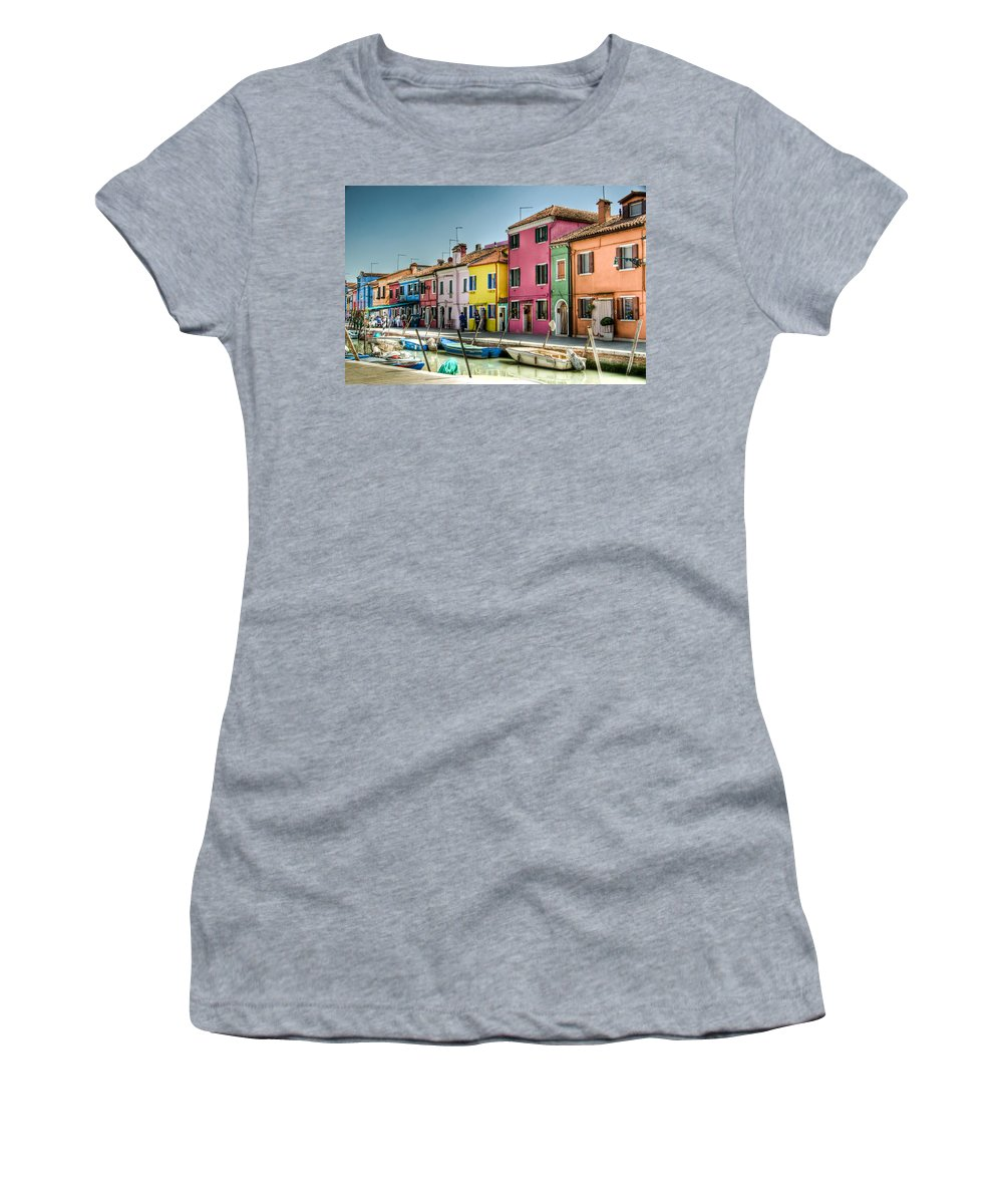 Burano Women's T-Shirt featuring the photograph Burano Canal by Jon Berghoff