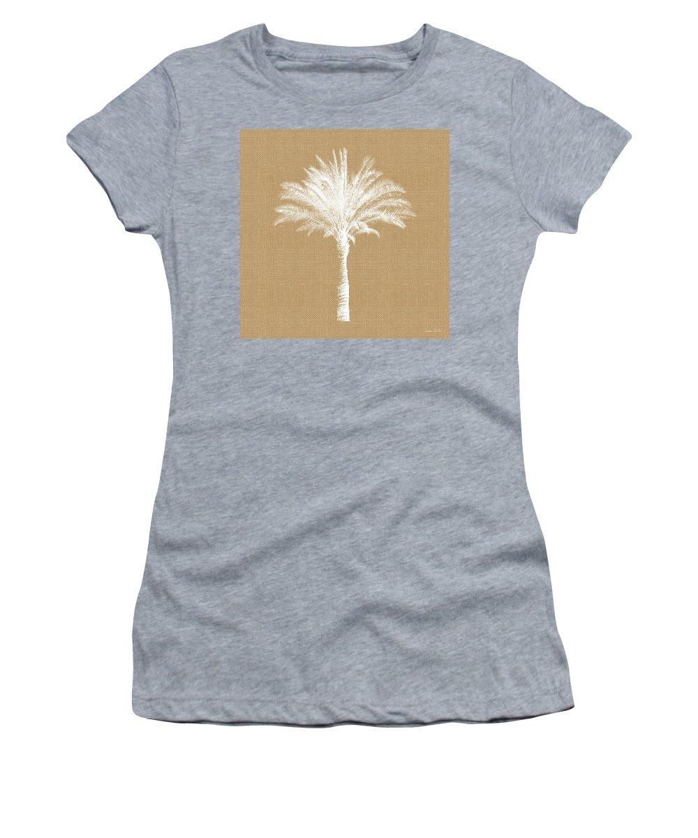 Palm Tree Women's T-Shirt featuring the mixed media Burlap Palm Tree- Art by Linda Woods by Linda Woods