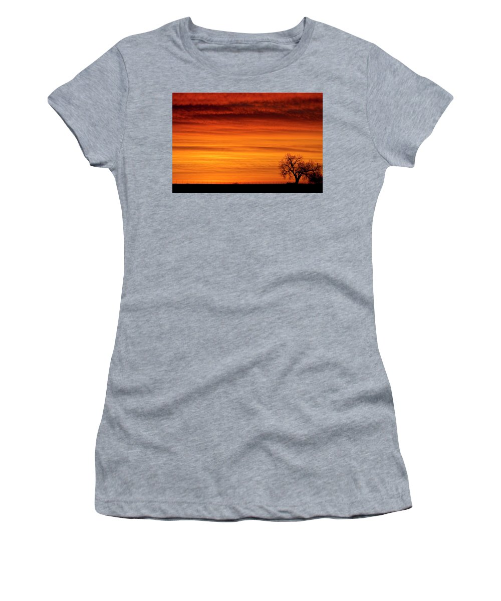 Country Prints Women's T-Shirt (Athletic Fit) featuring the photograph Burning Country Sky by James BO Insogna