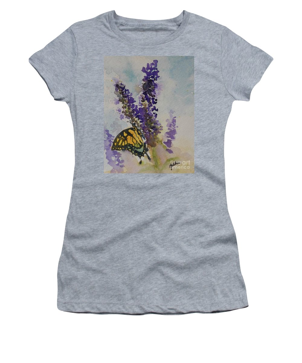Butterfly Bush Women's T-Shirt (Athletic Fit) featuring the painting Butterfly Bush by Gretchen Bjornson
