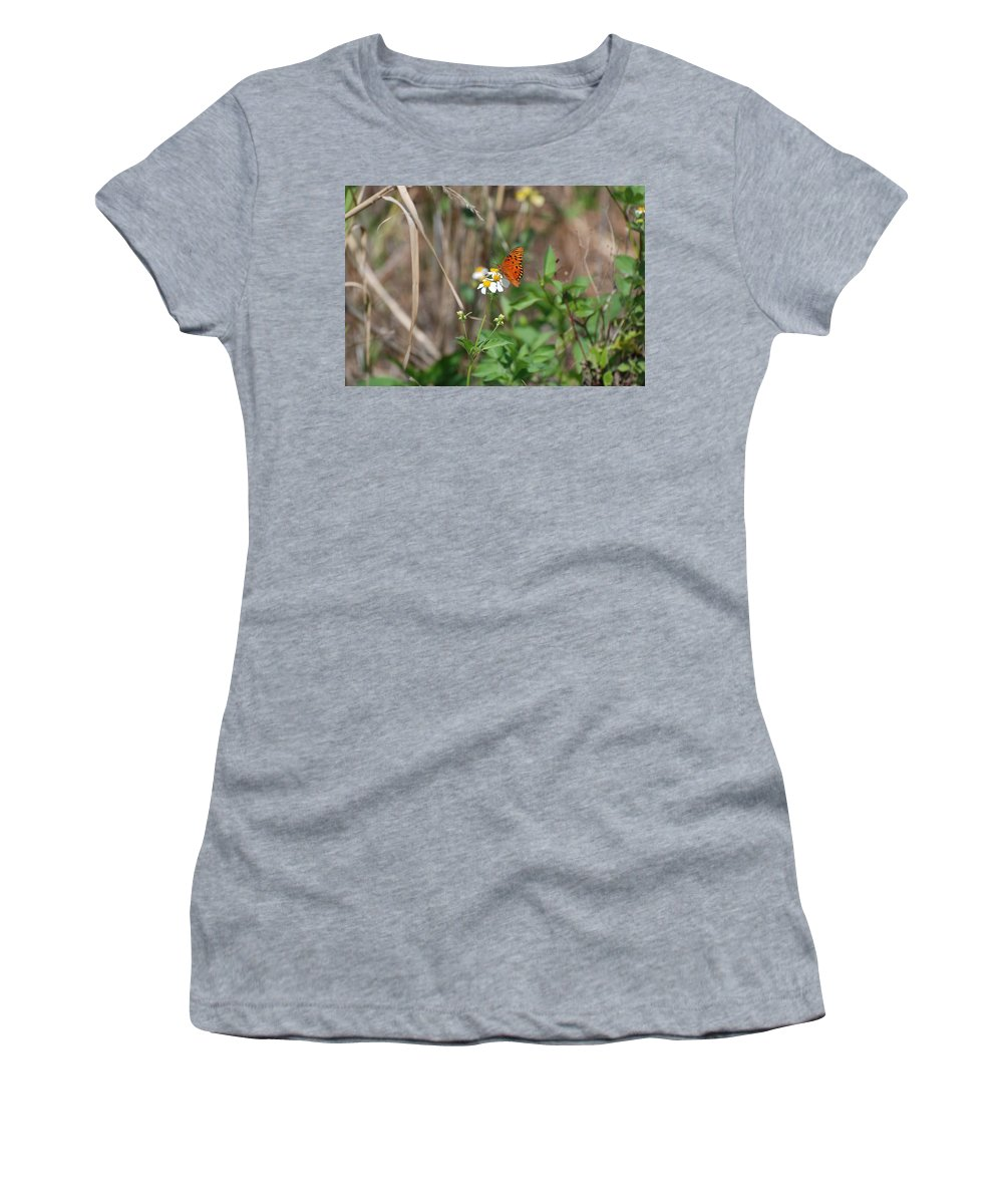 Butterfly Women's T-Shirt (Athletic Fit) featuring the photograph Butterfly Flower by Rob Hans