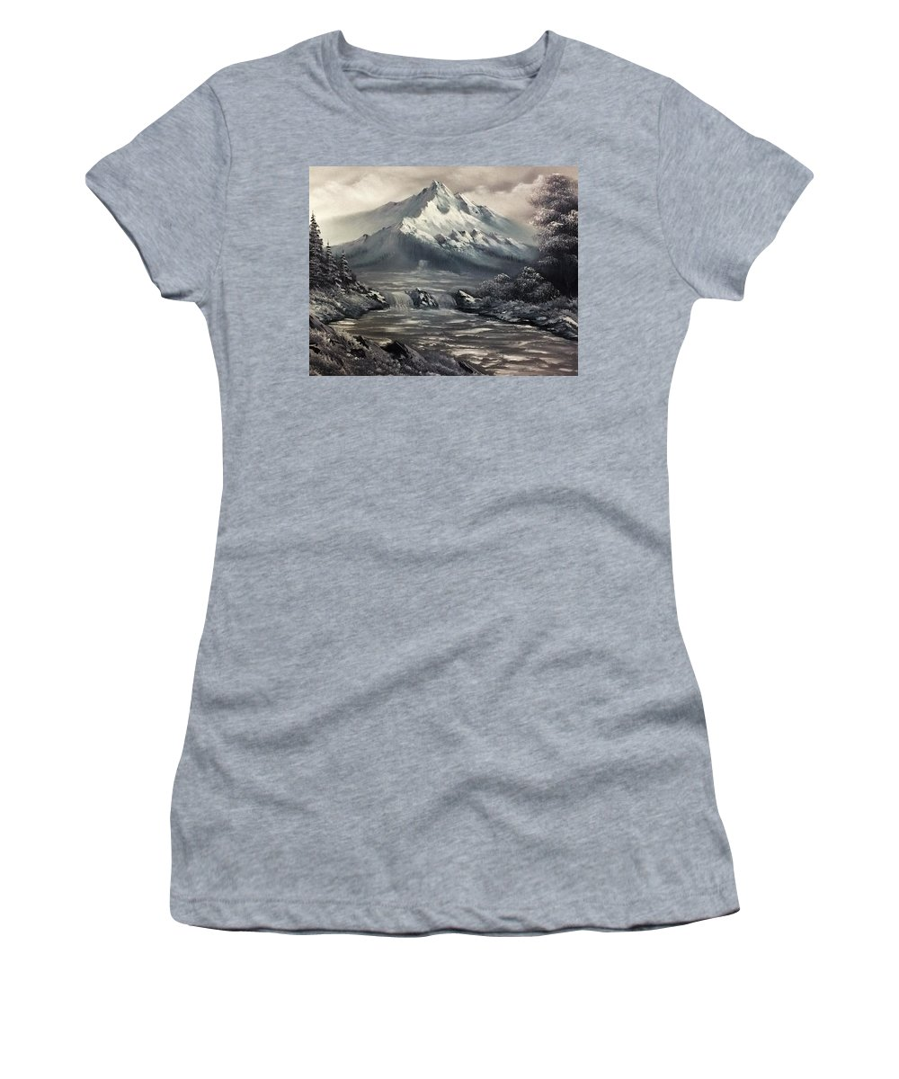 Mountain Women's T-Shirt (Athletic Fit) featuring the painting Bw Mountain Rapids by Christopher Herrin