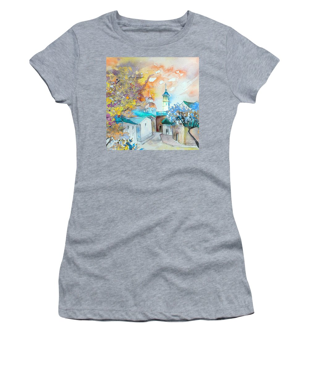 Watercolour Travel Painting Of A Village By Teruel In Spain Women's T-Shirt featuring the painting By Teruel Spain 03 by Miki De Goodaboom