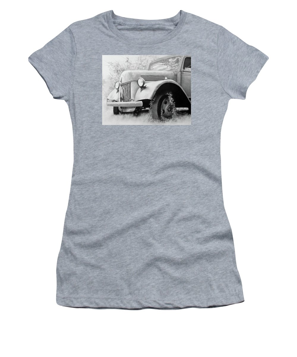 Drawing Women's T-Shirt featuring the drawing Bygone Era by Becky West