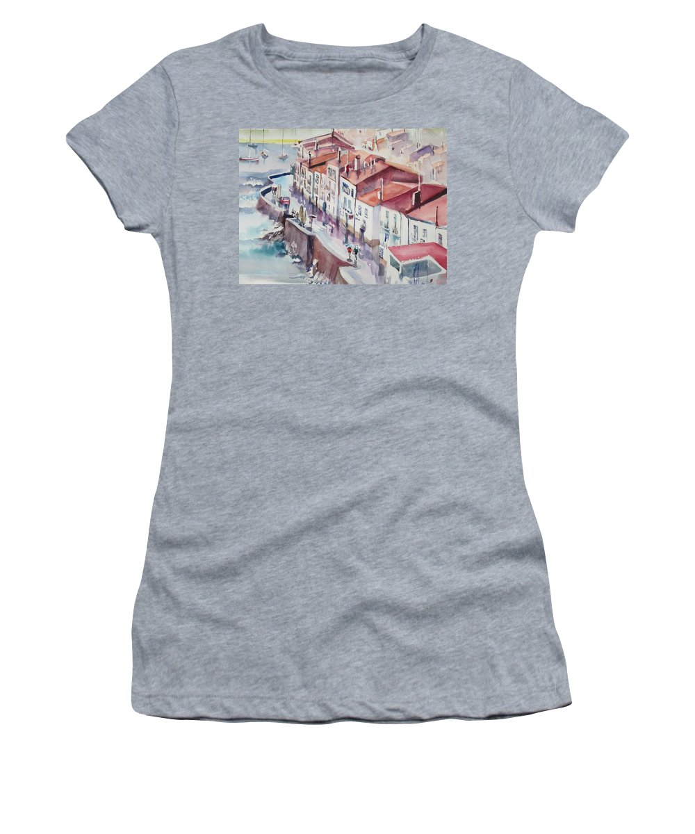 Women's T-Shirt (Athletic Fit) featuring the painting Cadaquesh by Radu Dumitrescu