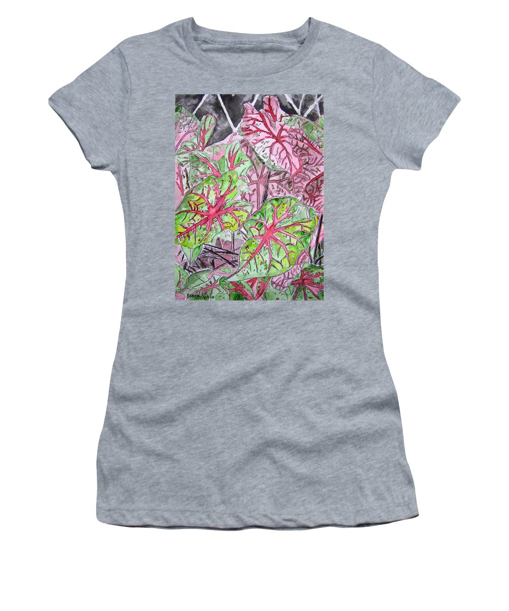 Watercolour Women's T-Shirt (Athletic Fit) featuring the painting Caladiums Tropical Plant Art by Derek Mccrea
