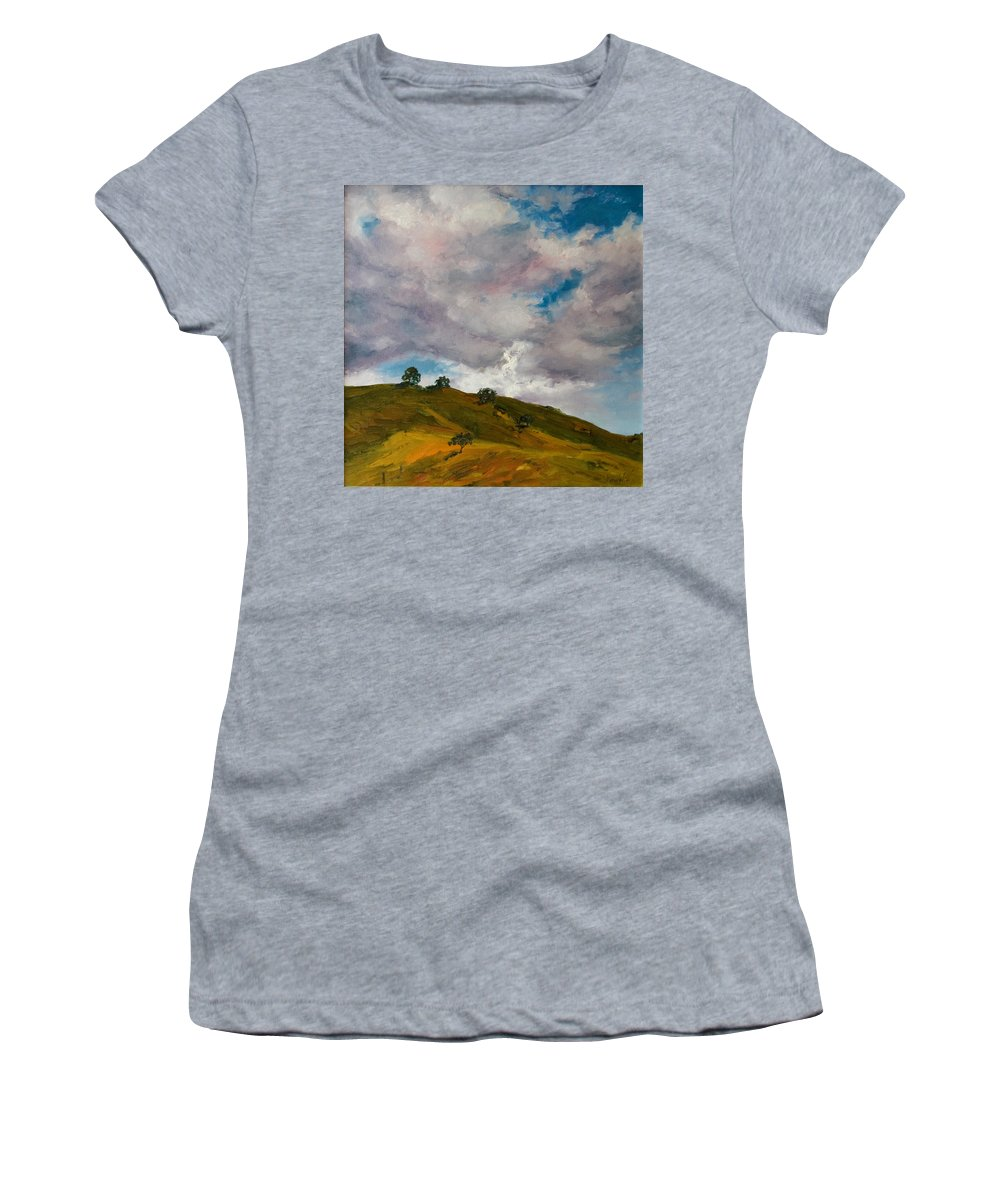 Sky Women's T-Shirt (Athletic Fit) featuring the painting California Hills by Rick Nederlof