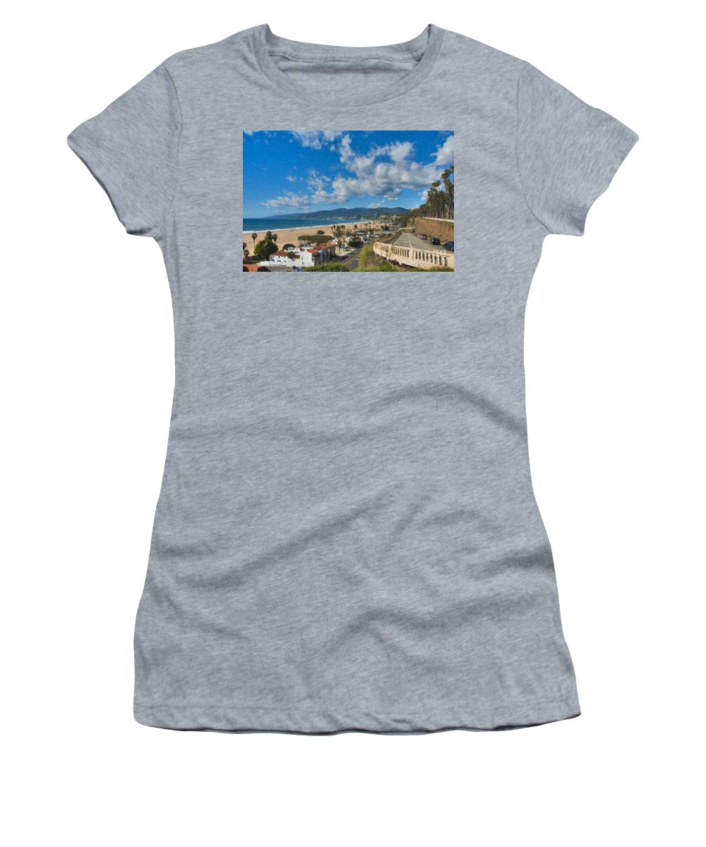 California Incline Palisades Park Ca Women's T-Shirt (Athletic Fit) featuring the photograph California Incline Palisades Park Ca by David Zanzinger