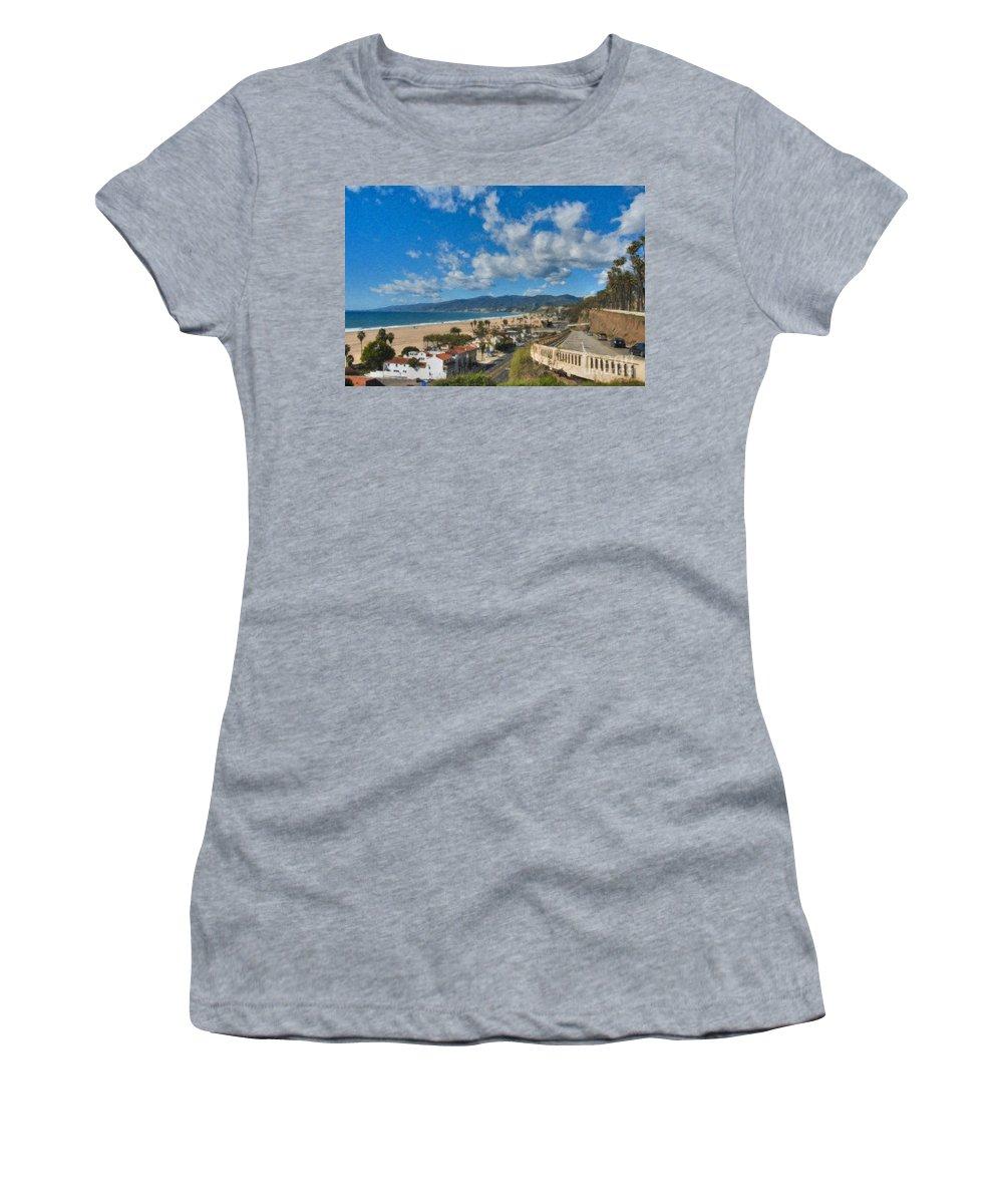 California Incline Palisades Park Ca Women's T-Shirt featuring the photograph California Incline Palisades Park Ca by David Zanzinger